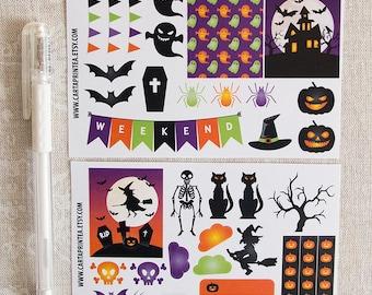 Halloween stickers, pumpkin witch cat spider hounted house skeleton bats ghost, planner sticker, ec filofax kikki.k planner stickers