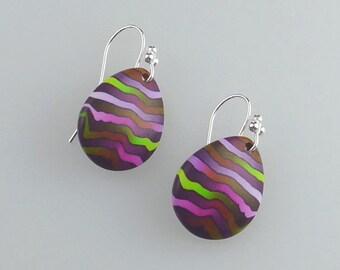 Purple 'Heather' teardrop polymer clay earrings