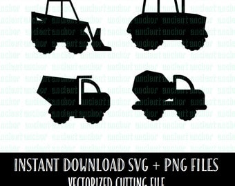 SVG File Commercial Use OK Work Trucks SVG Files Bundle - Construction Cement, Tractor, Dump and Loader Trucks - Vector Files