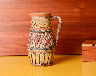 Vintage Native American Pottery, Colorful Pitcher Vase