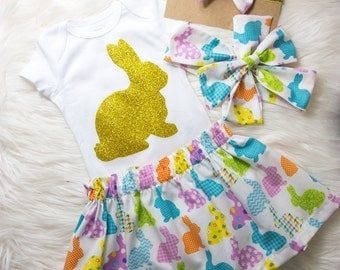 Easter Bunny Skirt and Head wrap Set- girls Easter outfit, babies skirt, little girl skirt, baby girl Easter outfit