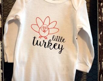 Custom Little Turkey Baby Bodysuit, Just in time for Thanksgiving!
