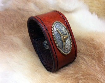 Texas longhorn leather cuff