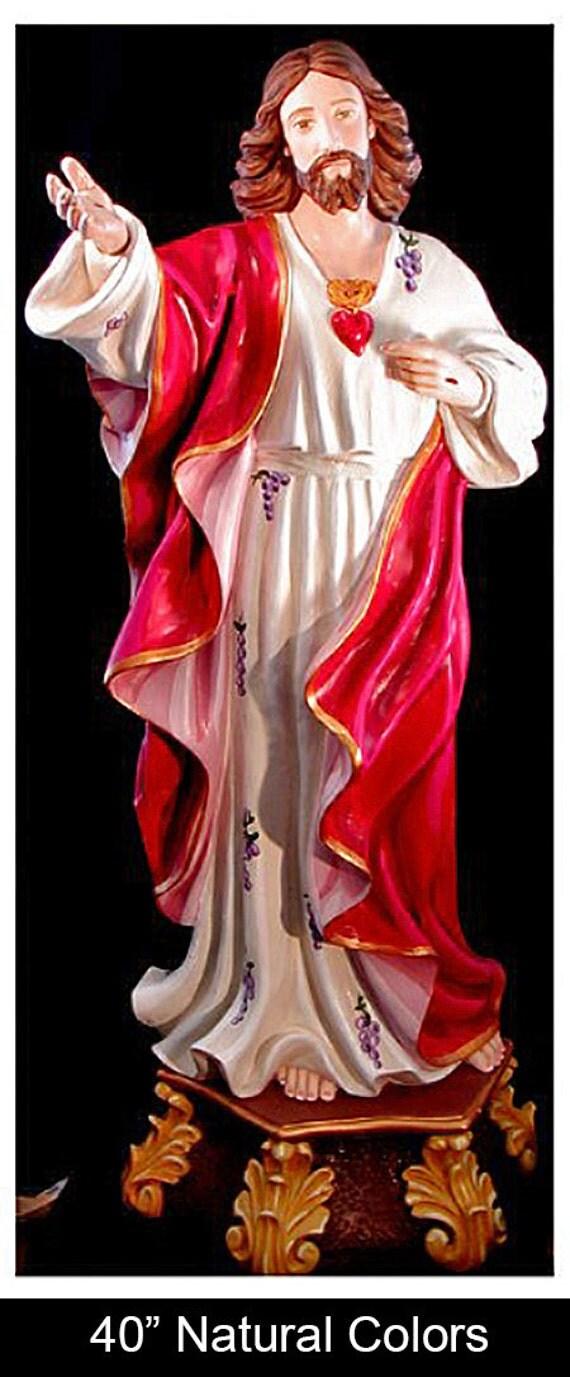 "Sacred Heart of Jesus 40"" Fiberglass Catholic Christian Religious Statue"