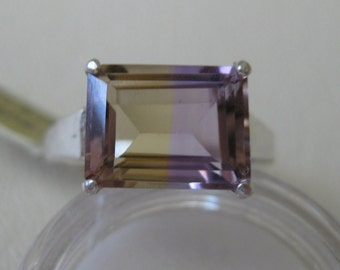 Ametrine (11x9mm, 4.0ct) Gemstone Ring Size 9.75 set in Sterling Silver, No. 1200