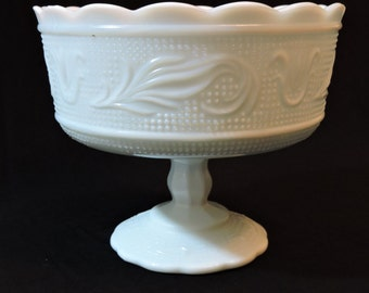Vintage Milk Glass Pedestal Centerpiece Footed Stemmed Fruit Bowl - Small Chip on Top Edge