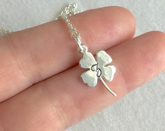 Personalized Four Leaves Necklace, Clover Necklace, Shamrock Necklace, Initial Monogram Necklace, Mother Necklace, Minimalist Necklace