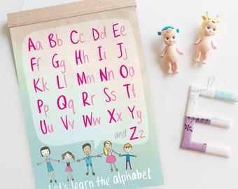 SALE 25% off // Alphabet poster - abc, playroom decor, nursery, kids room, kids wall art, A3