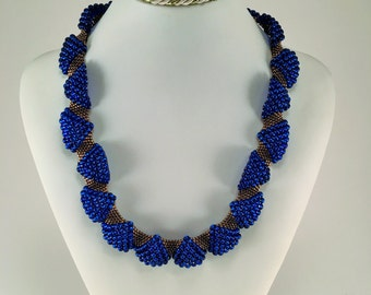 Wavy Necklace | Blue Bronza Beaded Necklace | Wedding Neckalce | Original Gift | Wave Necklace | Unique Jewelry