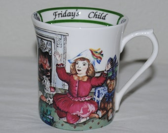 """Fine Bone China Cup, Vintage Queen's Fine Bone China, English China Cup, """"Birthday Week"""", """"Friday's Child"""", Birthday Gift"""