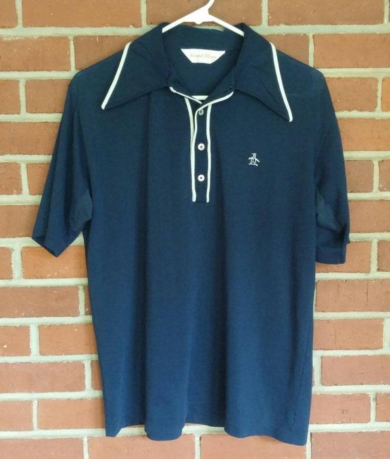 1970 39 s munsingwear penguin shirt grand slam mens l dark for Golf shirt with penguin logo