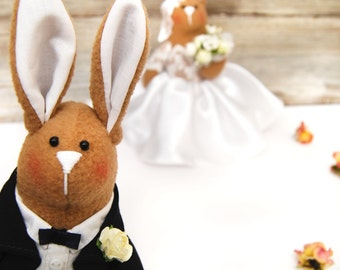 Wedding Bunny-Art- Rustic decor-Cute Gift-Bunny couple-Wedding couple- Bride and Groom-Home decor-Gift for couples