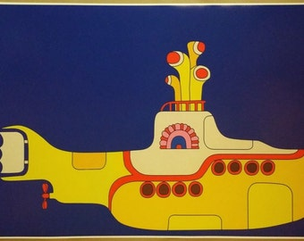 "The Beatle's Yellow Submarine Art WIDE GIANT 42"" x 24""  Digital Poster Print John Paul George Ringo"