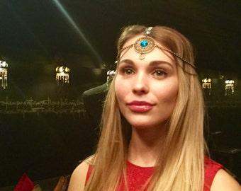 Ethnic headdress fantasy/Tribal fusion headpiece/Crystal headpiece/tribalfusion/bellydance/wedding/headpiece/headdress/Burning Man/Boho