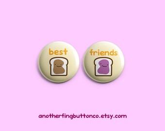 Peanut butter & jelly best friends button badge set.