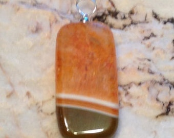 Elegant Brown and White Agate Pendant