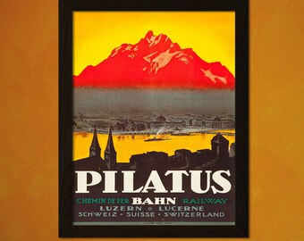Art Quality Prints - Switzerland Travel Poster 1920s - Vintage Travel Tourism Wall Decor Poster Gift Idea Swiss  t