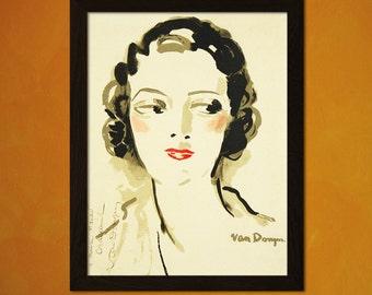 Jeune Femme by Kees van Dongen 1938 - Vintage Fashion Arts Feminine Poster Fashion Illustration Fashion Poster  t