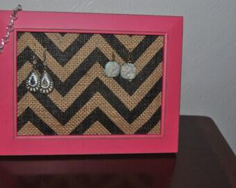 Chevron Burlap Jewelry Display, Holder, Organizer