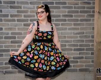 Halloween dias de  los muertos sugarskulls fiesta goth pin up rockabilly jumperskirt dress