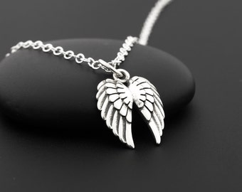 Double Angel Wing Necklace, Angel Wing Jewelry, Sterling Silver, Guardian Angel Necklace, First Communion Gifts for Girls, Silver Wings
