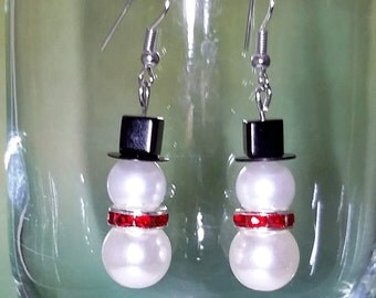 Snowman Earrings,Earrings, Winter Snowman, Snowman Earrings,Snowman Charm Jewelry,Christmas Earrings,Gift,Holiday Earrings,Holiday,Snowman