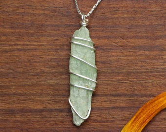 Green Kyanite Necklace, Green Kyanite Pendant, Green Kyanite Wire Wrap, Kyanite Pendant, Kyanite Necklace, Kyanite Jewelry