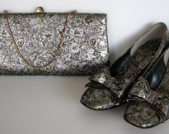 Vintage Purse and Shoes 7.5B 1960s Leon of California Brocade Silver and Gold