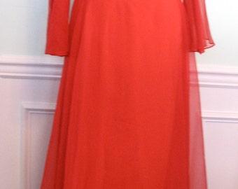 Vintage Estevez Luis Dress Red Chiffon 1970s