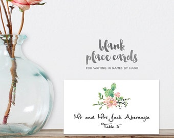 Wedding Place Cards DIY Printable PDF / Cactus Succulent, Coral Flower, Fiesta Food Card / Tent Card / Guest Seating Card ▷ Instant Download