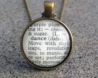 """Word Pendant and Chain """"Dance"""""""