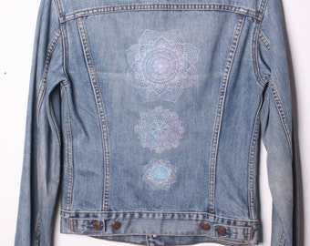 Levis Denim Jacket customised with Mandala Motif Size S / M