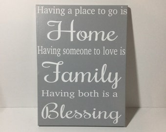 Painted canvas sign - home family blessing - christian home gift