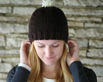 Chunky Hand Knit Hat with Pom Pom - Women's Winter Hat in Many Colors