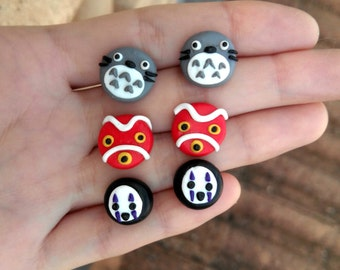 Studio Ghibli Earrings Mononoke's Mask, Totoro and Kaonashi No Face