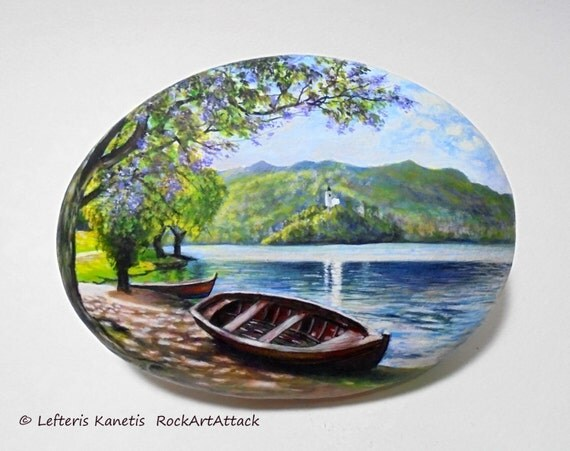 Rock painting landscape with boat next to the lake painted - Painting rocks for garden what kind of paint ...