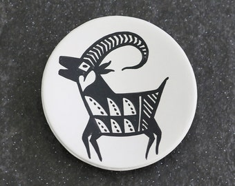 Vintage Acoma Pueblo Pottery Plate with Mountain Sheep Native American Pottery