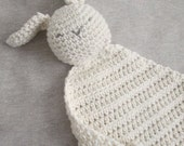 Organic Cotton Crocheted Bunny Lovey Baby Toy ∙ Security Blanket ∙ Baby Shower Gift