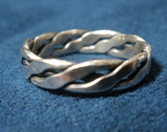 Sterling Silver Three-Wire Braided Ring