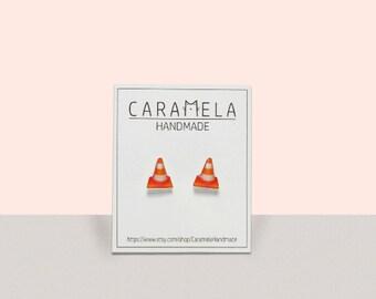 Traffic Cones stud earrings Cones stud earrings Jewelry Gift idea