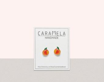 Peach Stud Earrings Fruit earrings Peach Earring  Post Peaches Fruit Miniature Food Peach Jewelry Peach Gift