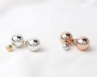 double ball earrings, 2color, metallic ball jewelry, pink ball earrings, newest trend, ball earrings, simple jewelry, everyday jewelry