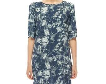 Easy fit Shift dress - Blue mosaic print