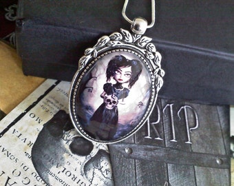 Goth Girl with Skull Cabochon Necklace
