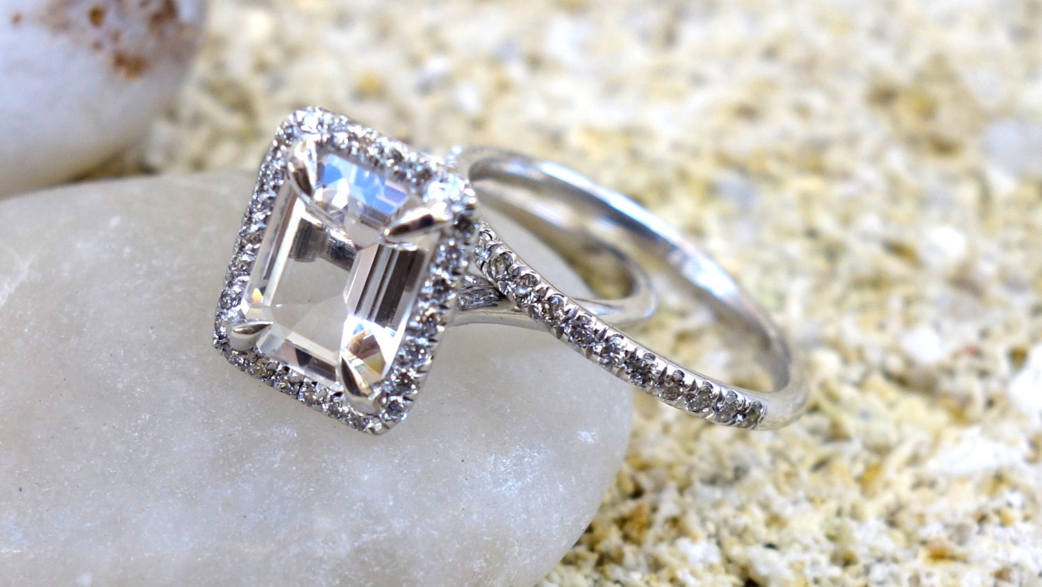 diamond engagement ring unique halo ring white gold by. Black Bedroom Furniture Sets. Home Design Ideas