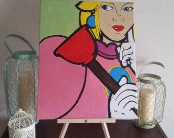 """Princess Peach """"Kinky Plunger"""" - Custom Handpainted Acrylic Canvas"""