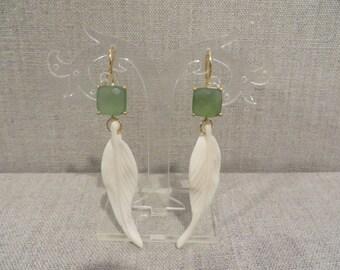 Green Serpentine Feather Earrings
