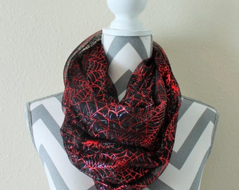 Red & Silver Spider Web Mesh Infinity Scarf