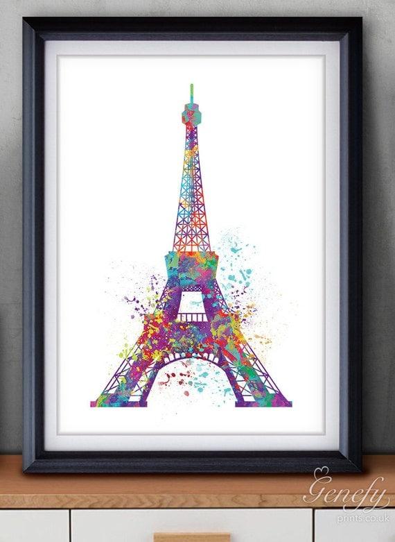 Paris Eiffel Tower Watercolor Art Poster Print Wall Decor
