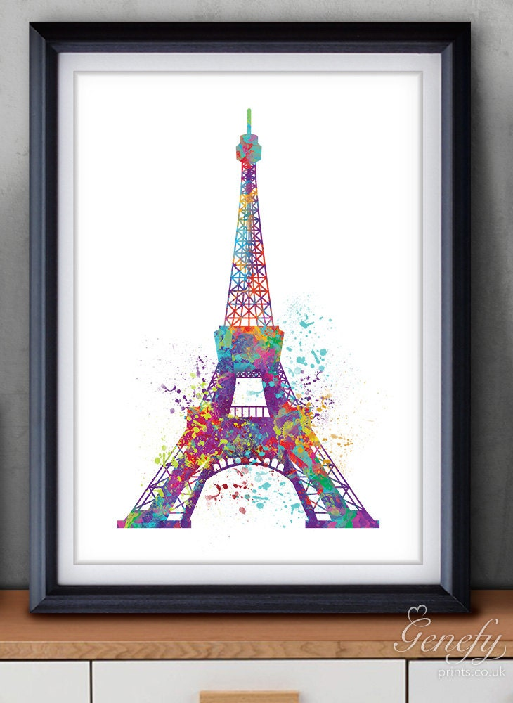 paris eiffel tower watercolor art poster print wall decor. Black Bedroom Furniture Sets. Home Design Ideas